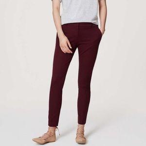 LOFT Burgundy Marisa Ankle Trouser Pant